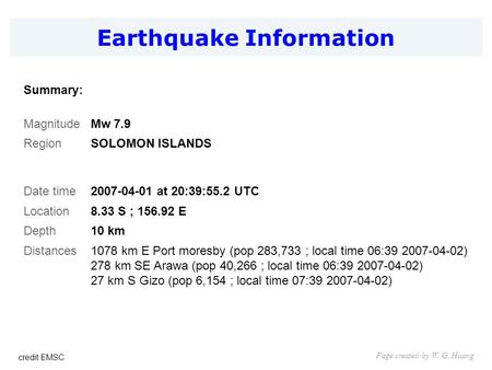 Earthquake Information Page created by W. G. Huang Summary: MagnitudeMw 7.9 RegionSOLOMON ISLANDS Date time2007-04-01 at 20:39:55.2 UTC Location8.33 S.