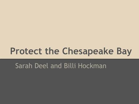 Protect the Chesapeake Bay Sarah Deel and Billi Hockman.