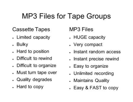 MP3 Files for Tape Groups Cassette Tapes ● Limited capacity ● Bulky ● Hard to position ● Difficult to rewind ● Difficult to organize ● Must turn tape over.