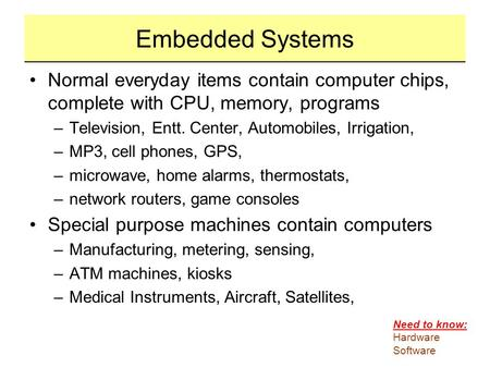 Embedded Systems Normal everyday items contain computer chips, complete with CPU, memory, programs Television, Entt. Center, Automobiles, Irrigation, MP3,