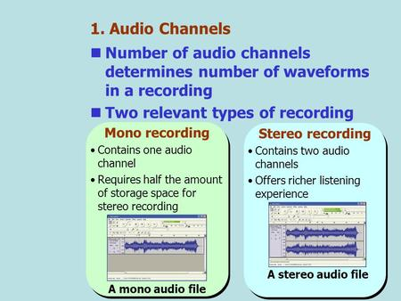 A stereo audio file 1. Audio Channels Number of audio channels determines number of waveforms in a recording Two relevant types of recording Stereo recording.