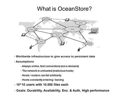 What is OceanStore? - 10^10 users with 10.000 files each - Goals: Durability, Availability, Enc. & Auth, High performance - Worldwide infrastructure to.