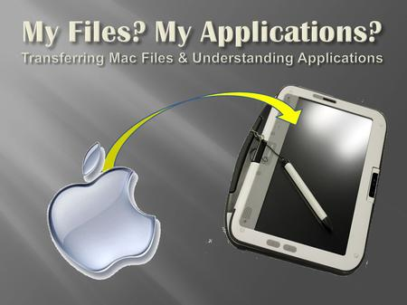 My Files? My Applications? Transferring Mac Files & Understanding Applications.