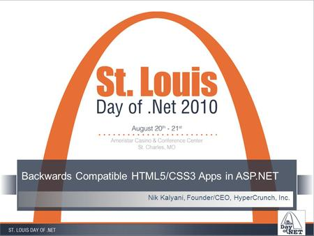 Backwards Compatible HTML5/CSS3 Apps in ASP.NET Nik Kalyani, Founder/CEO, HyperCrunch, Inc.