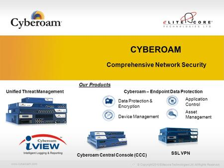 Www.cyberoam.com © Copyright 2010 Elitecore Technologies Ltd. All Rights Reserved. Comprehensive Network Security Our Products Unified Threat Management.