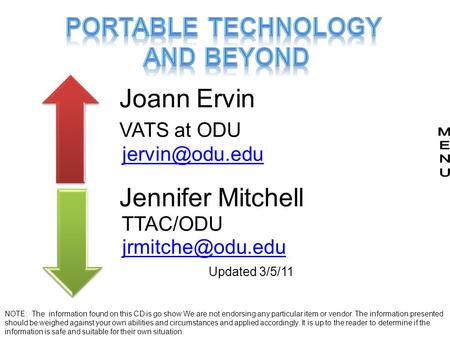 Joann Ervin VATS at ODU Jennifer Mitchell TTAC/ODU Updated 3/5/11 NOTE: The information found on this CD is go show We.