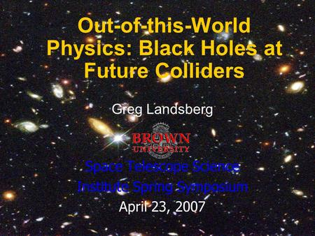 Out-of-this-World Physics: Black Holes at Future Colliders
