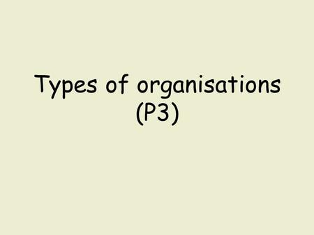 Types of organisations (P3). You need to show that you understand what the different types of travel and tourism organisation are. Complete the table.