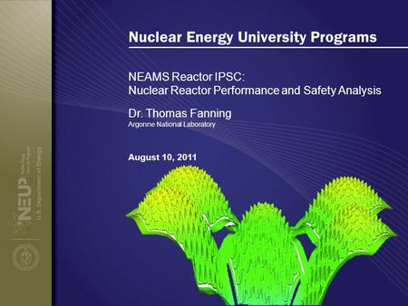 Nuclear Energy University Programs NEAMS Reactor IPSC: Nuclear Reactor Performance and Safety Analysis August 10, 2011 Dr. Thomas Fanning Argonne National.