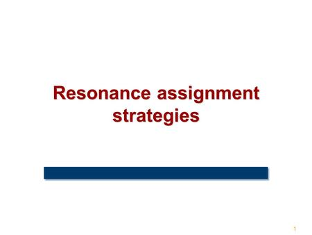 1 Resonance assignment strategies. 2 Amino acid sequence + The assignment problem.