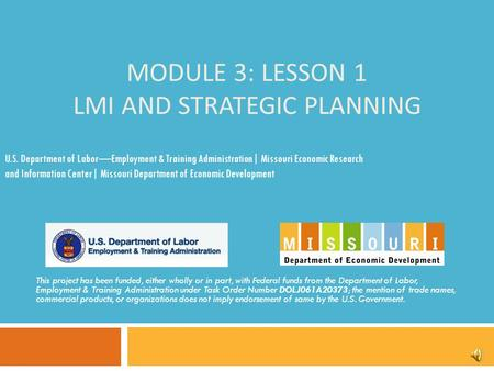 MODULE 3: LESSON 1 LMI AND STRATEGIC PLANNING This project has been funded, either wholly or in part, with Federal funds from the Department of Labor,
