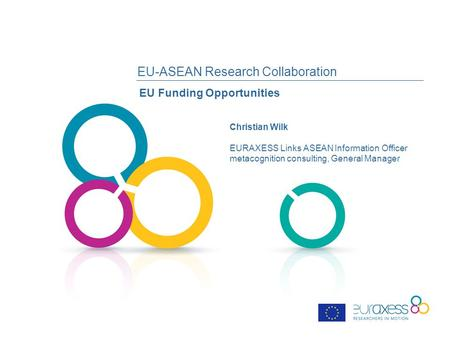 EU-ASEAN Research Collaboration EU Funding Opportunities Christian Wilk EURAXESS Links ASEAN Information Officer metacognition consulting, General Manager.