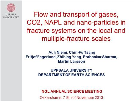 Flow and transport of gases, CO2, NAPL and nano-particles in fracture systems on the local and multiple-fracture scales Auli Niemi, Chin-Fu Tsang Fritjof.