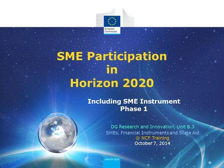 <strong>SME</strong> Participation in Horizon 2020