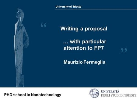 University of Trieste PHD school in Nanotechnology Writing a proposal … with particular attention to FP7 Maurizio Fermeglia.