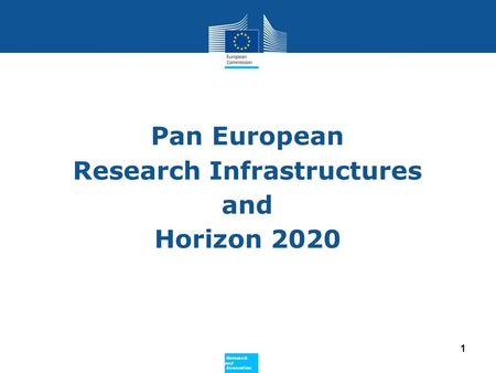 Policy Research and Innovation Research and Innovation Pan European Research Infrastructures and Horizon 2020 1.