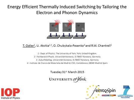 Energy Efficient Thermally Induced Switching by Tailoring the Electron and Phonon Dynamics T. Ostler 1, U. Atxitia 2,3, O. Chubykalo-Fesenko 4 and R.W.