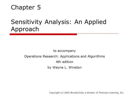 Chapter 5 Sensitivity Analysis: An Applied Approach