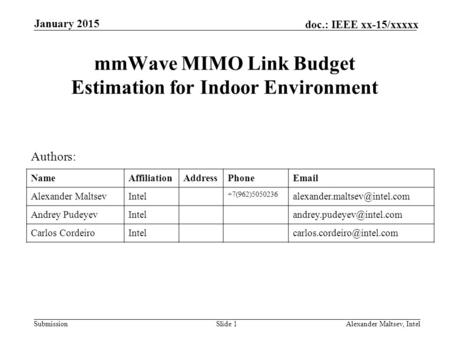 mmWave MIMO Link Budget Estimation for Indoor Environment