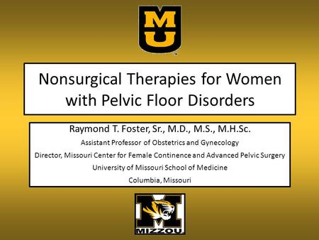 Nonsurgical Therapies for Women with Pelvic Floor Disorders Raymond T. Foster, Sr., M.D., M.S., M.H.Sc. Assistant Professor of Obstetrics and Gynecology.