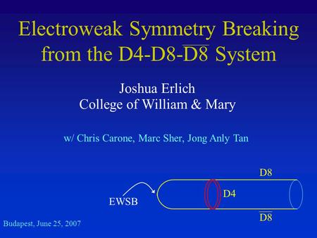 Electroweak Symmetry Breaking from the D4-D8-D8 System Joshua Erlich College of William & Mary Budapest, June 25, 2007 w/ Chris Carone, Marc Sher, Jong.