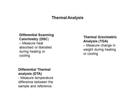 Differential Thermal analysis (DTA) - Measure temperature difference between the sample and reference. Differential Scanning Calorimetry (DSC) – Measure.