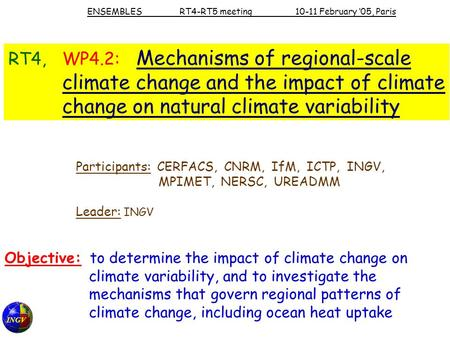 INGV RT4, WP4.2: Mechanisms of regional-scale climate change and the impact of climate change on natural climate variability Participants: CERFACS, CNRM,