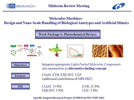 Work Package 4: Photochemical Devices Midterm-Review Meeting Molecular Machines- Design and Nano-Scale Handling of Biological Antetypes and Artificial.