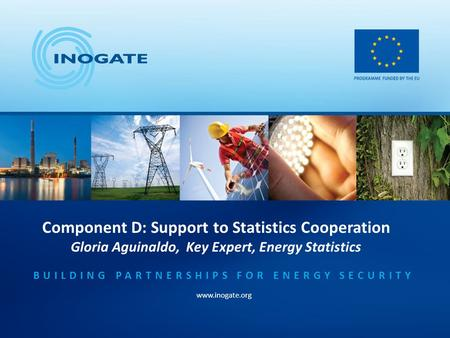 Component D: Support to Statistics Cooperation Gloria Aguinaldo, Key Expert, Energy Statistics BUILDING PARTNERSHIPS FOR ENERGY SECURITY www.inogate.org.