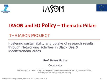 THE IASON PROJECT Fostering sustainability and uptake of research results through Networking activities in Black Sea & Mediterranean areas Prof. Petros.