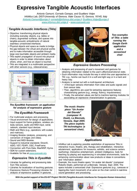 Expressive Tangible Acoustic Interfaces Antonio Camurri, Corrado Canepa, and Gualtiero Volpe InfoMus Lab, DIST-University of Genova, Viale Causa 13, Genova,