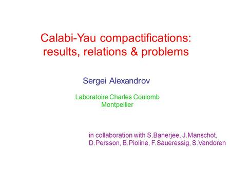 Calabi-Yau compactifications: results, relations & problems