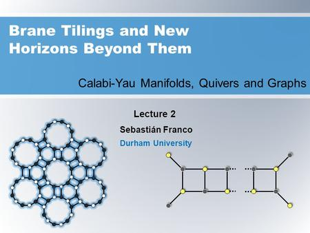 Brane Tilings and New Horizons Beyond Them Calabi-Yau Manifolds, Quivers and Graphs Sebastián Franco Durham University Lecture 2.
