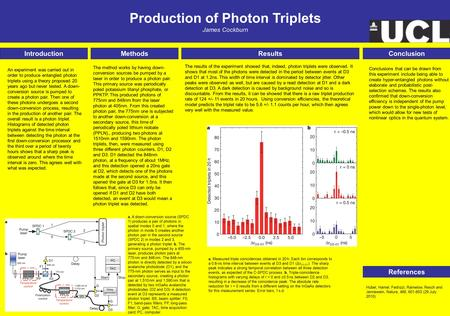 Production of Photon Triplets James Cockburn Introduction References MethodsResultsConclusion The method works by having down- conversion sources be pumped.