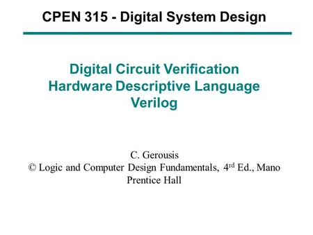 CPEN Digital System Design