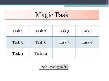 Magic Task Task 1Task 2Task 3Task 4 Task 5Task 6Task 7Task 8 Task 9Task 10 NC Level 3 to 8.