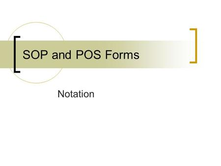 Notation SOP and POS Forms. SOP Given a Table of Combinations  What is the SOP form for the following 3 input / 1 output digital device? SABf 0000 0010.