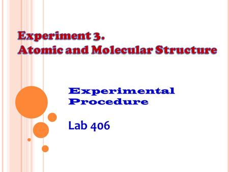 Lab 406 Experiment 3. Atomic and Molecular Structure