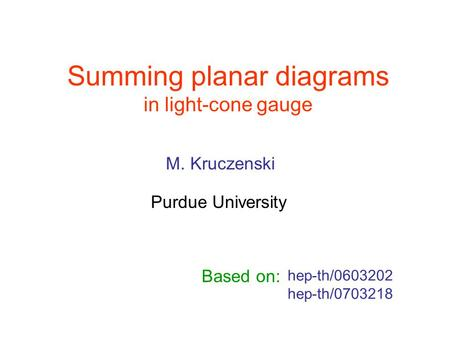 Summing planar diagrams