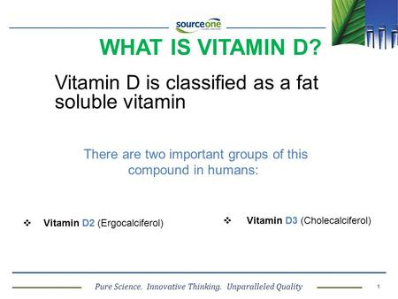 Pure Science. Innovative Thinking. Unparalleled Quality 1 WHAT IS VITAMIN D? Vitamin D is classified as a fat soluble vitamin There are two important groups.