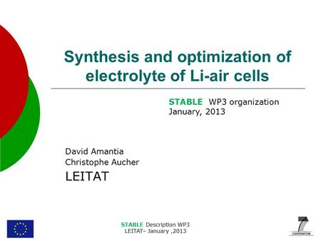 STABLE Description WP3 LEITAT– January,2013 Synthesis and optimization of electrolyte of Li-air cells David Amantia Christophe Aucher LEITAT STABLE WP3.