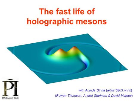 The fast life of holographic mesons (Rowan Thomson, Andrei Starinets & David Mateos) TexPoint fonts used in EMF. Read the TexPoint manual before you delete.