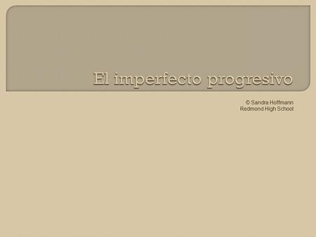 © Sandra Hoffmann Redmond High School.  The Imperfecto Progresivo (Past Progressive) is the past tense equivalent to the Presente Progresivo (Present.