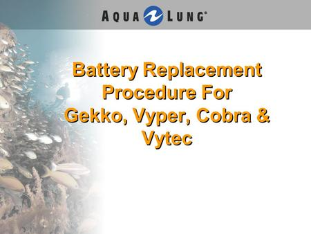 Battery Replacement Procedure For Gekko, Vyper, Cobra & Vytec.