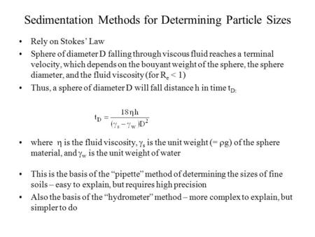 Sedimentation Methods for Determining Particle Sizes