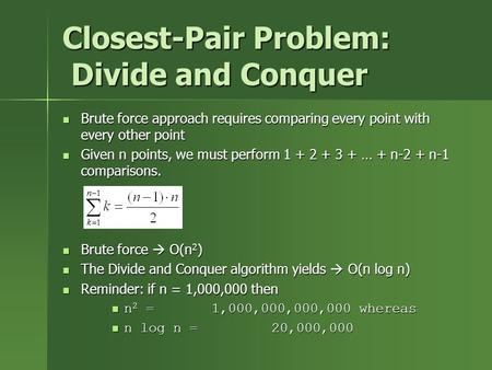 Closest-Pair Problem: Divide and Conquer