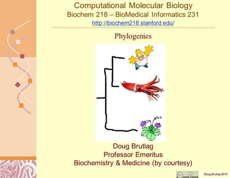 Computational Molecular Biology Biochem 218 – BioMedical Informatics 231   Doug Brutlag Professor.