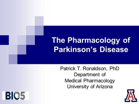 The Pharmacology of Parkinson's Disease