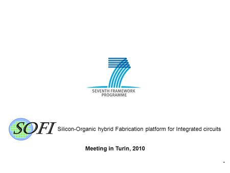 Silicon-Organic hybrid Fabrication platform for Integrated circuits 1 Meeting in Turin, 2010.