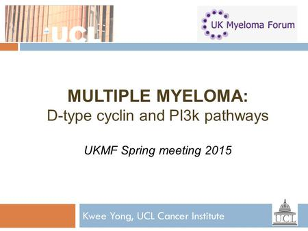 MULTIPLE MYELOMA: D-type cyclin and PI3k pathways UKMF Spring meeting 2015 Kwee Yong, UCL Cancer Institute.